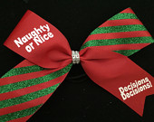 naughty or nice christmas cheer bow